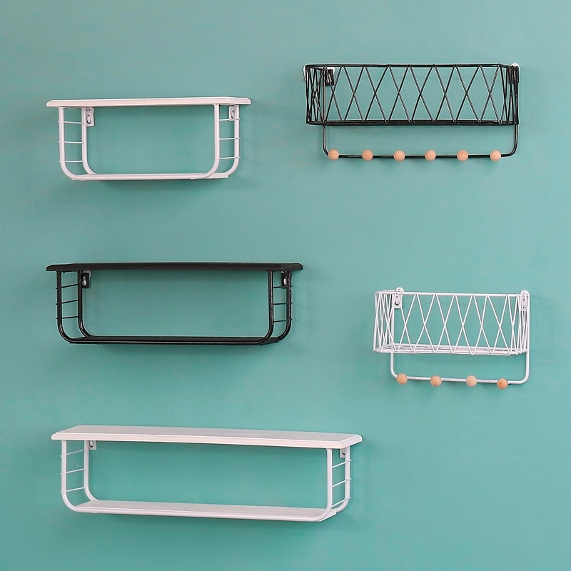 Creative Multi Function Metal Shelf Double Layer Storage Holders Racks Hanging Baskets Wall Decoration Home Storage Organization