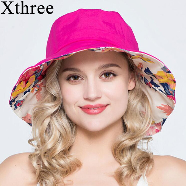 Xthree summer hats for women ladies large brim cotton Beach cap sun hat  female England Style 97833f83093b