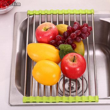 NOOLIM Multifunction Folding Drain Rack Stainless Steel Silicon Handy Shelf Portable Drain Shelf Storage Kitchen Tool Drain Rack stainless steel sink drain rack