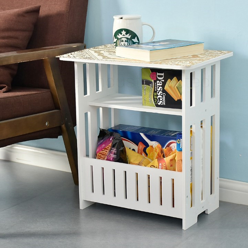 Modern Coffee Table European Simple Living Room Small Table Bedside Cabinet Storage Rack Wood Plastic White Coffee Table