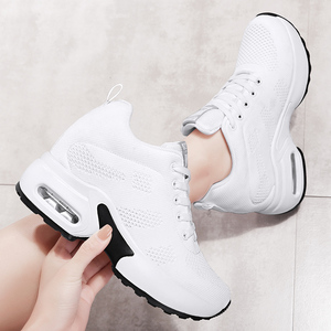 Image 3 - WADNASO Flying Knitting Fashion Sneakers Women Hide Heels Casual Shoes Breathable Platform Sneakers Wedge White Shoes XZ120