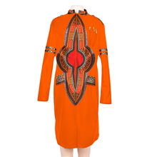 Autumn african dresses for women 2018 long sleeve and Knee dress print cotton clothing WY3497