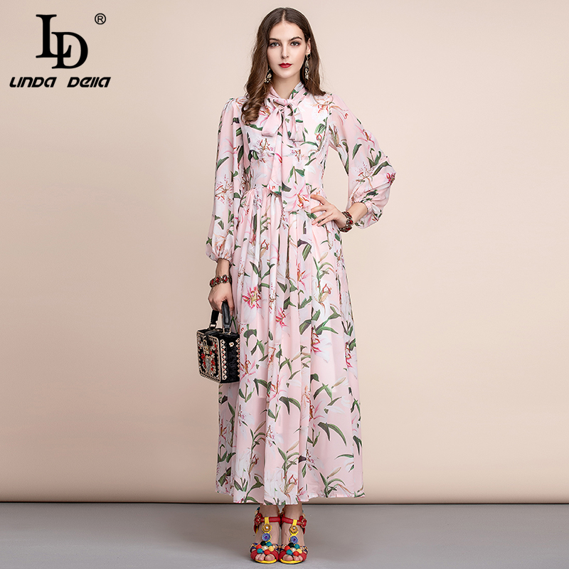 LD LINDA DELLA Autumn Fashion Runway Long Sleeve Dress Women's Bow Collar Chiffon Ily Flower Print Casual Holiday Elegant Dress