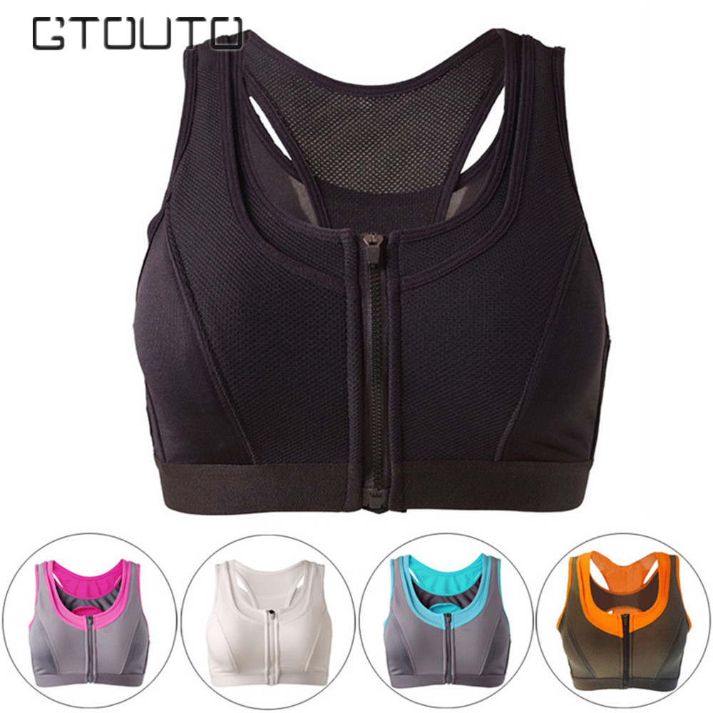 цена на Fitness Sports Shirt Bra In Sport Yoga Women's Vest Zipper Sports Bra Push Up Crop Top Women Brassiere Sport Running Sexy 6603