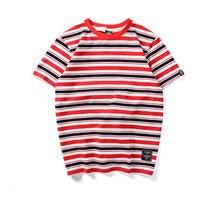 286771732fd83 Jaune Noir Rouge Blanc t-shirt à rayures Hommes D été hip hop décontracté  courtes manches top t-shirts 2019 Arc-En-Multi Rayé Lâ..