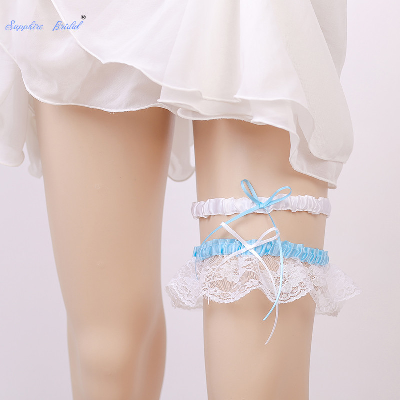 Wedding Leg Garter: Sapphire Bridal White Lace Edge Leg Garter With Bow Ribbon