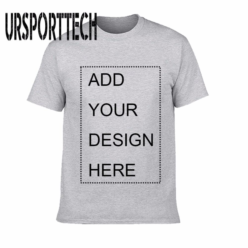 URSPORTTECH Customized Men's T Shirt Print Your Own Design High Quality Breathable Cotton T-Shirt For Men Plus Size XS-3XL