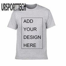 URSPORTTECH personalizado de los hombres T camisa imprimir su propio diseño de alta calidad de algodón transpirable Camiseta para los hombres tamaño XS-3XL