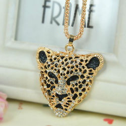 Leopard Head Sweater Necklace Jewelry Crystal For Women Long Necklace Pendants Rhinestone Chain Christmas Valentine's Lover Gift