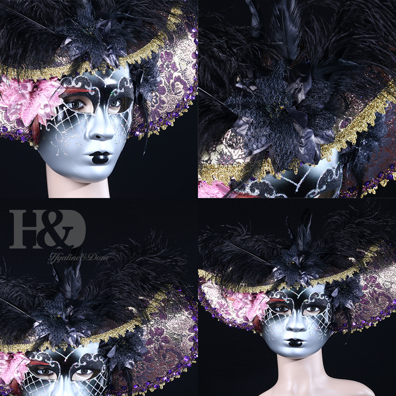 Image 4 - H&D Elegant Black Feather Hat Full Face Venetian Mask Halloween Masquerade Party Masks Italy Lady Mask Party Favor GiftsParty Masks   -