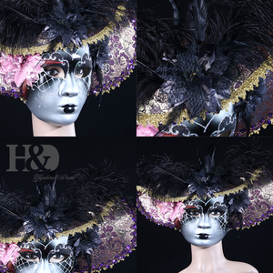 Image 4 - H&D Elegant Black Feather Hat Full Face Venetian Mask Halloween Masquerade Party Masks Italy Lady Mask Party Favor Gifts