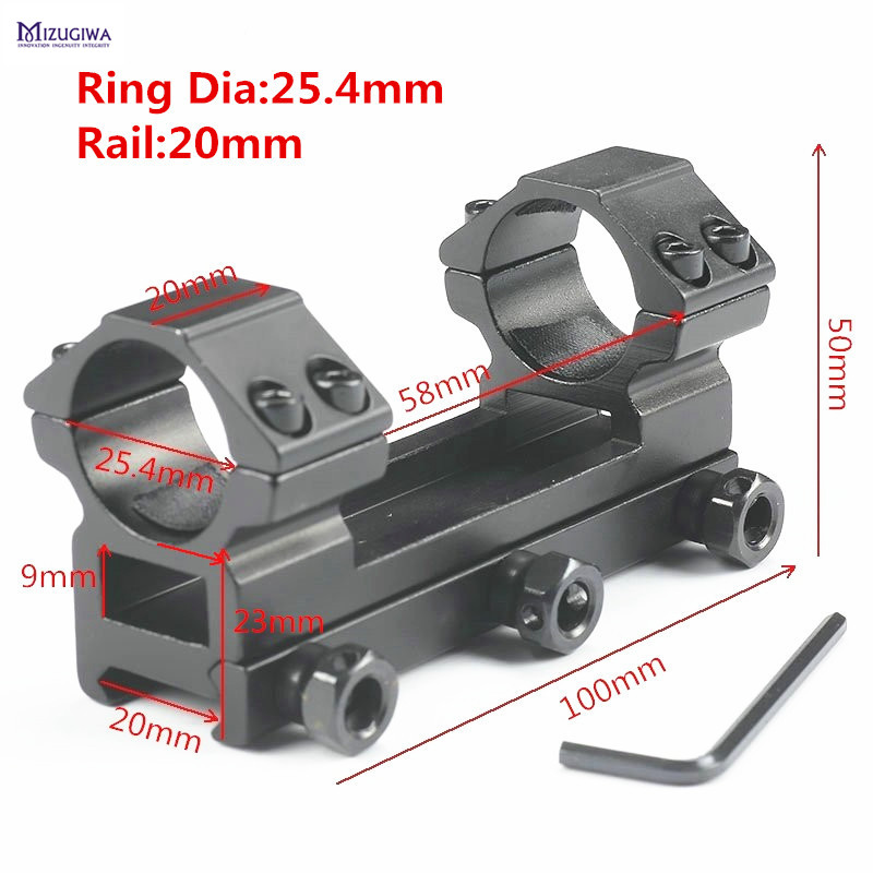 MIZUGIWA Heavy Duty One Piece Flat Top 25.4mm Rifle Scope Mount Dual Rings Picatiiny Dovetail Ring Adapter 20mm Weaver Rail
