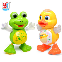 Electric Pet LED Flashing Lights Musical Dancing Duck Frog Battery Operated Figure Action Toy Electric Baby