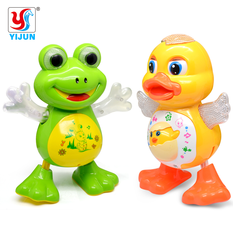 Electric Pet  LED Flashing Lights Musical Dancing Duck / Frog  Battery Operated Figure Action Toy Electric Baby Fun Toys
