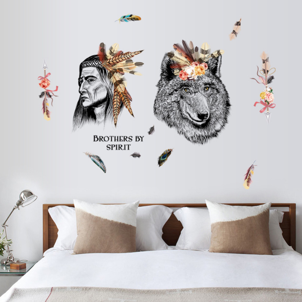 compare prices on wolf wall decals online shopping buy low price indian style wall stickers creative chief tribal and wolf wall decals bedroom living room dining room