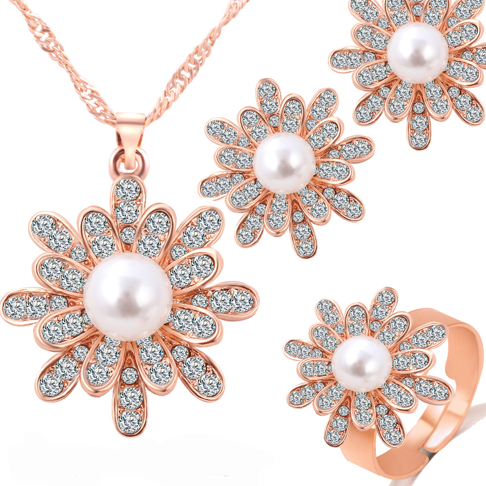 Snowflake pearl earrings necklace set flower set three pieces of jewelry