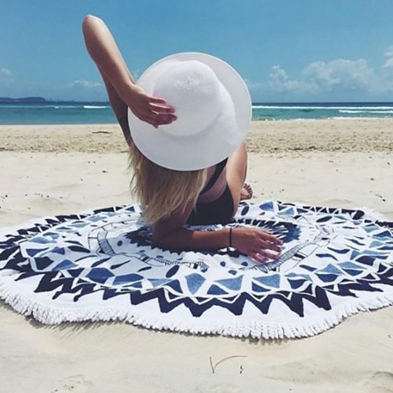 2018 Nieuwe Collectie Ronde Kwastje Fringing Uitstralen Strand Handdoek Yoga Mat Chiffon Tafelkleed Bed Cover