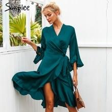 Simplee 우아한 여성 새틴 드레스 프릴 플레어 슬리브 레이디 랩 드레스 2019 가을 겨울 녹색 섹시한 여성 드레스 vestidos festa