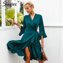 Simplee Elegant women satin dress Ruffle flare sleeve lady wrap dress 2019 Autumn winter green sexy female dress vestidos festa