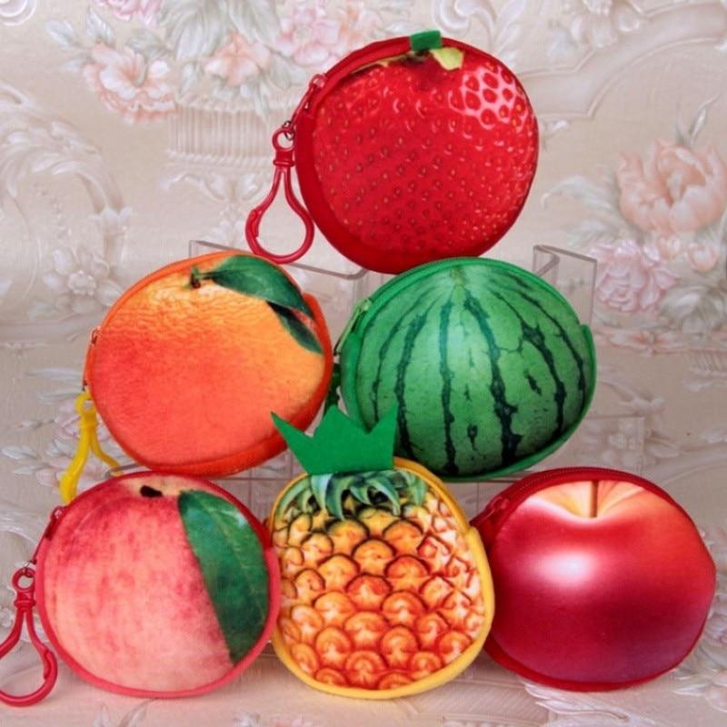 1pcs Cute fruit Cartoon apple watermelon flannelette children zipper bag kids zero wallet girl boy purse,lady coin wallets Case
