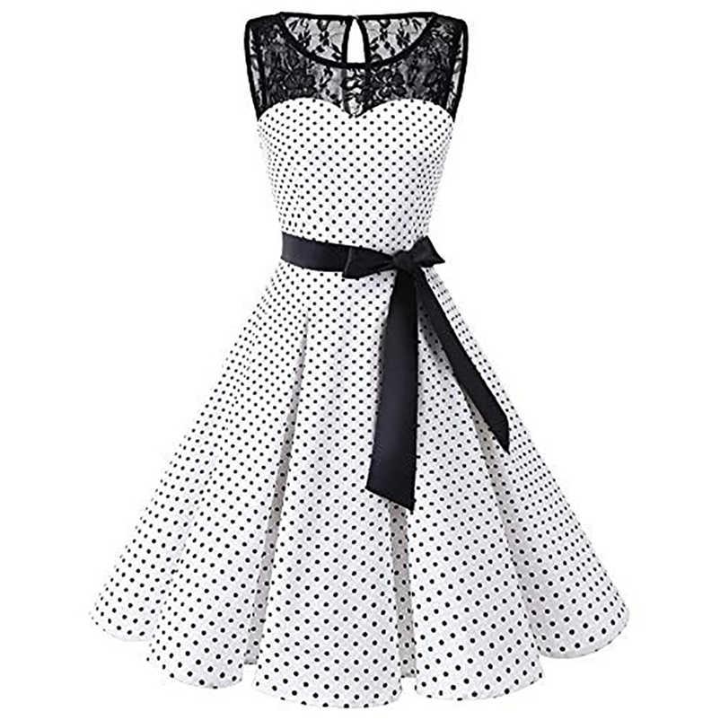 Plus Size S-4XL Retro Swing Dress Elegant Women Sleeveless Polka Dot Lace Hepburn  Vintage fae7b8db6bdf