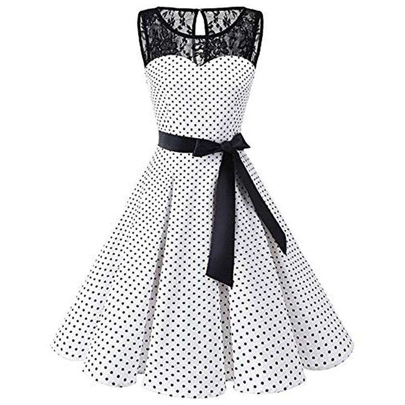 a13111054 Vestido de Swing Retro de talla grande S 4XL elegante para mujer sin mangas  de lunares de encaje Hepburn Vintage Swing de cintura alta vestido plisado  en ...