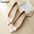 Fashion bow pointed toe ballet flat shoes women flats shoes woman big size