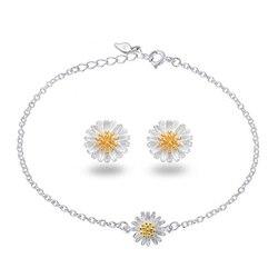 XIYANIKE 925 Sterling Silver 2019 Romantic Sweet Daisy Flower Jewelry Sets For Women Girls New Gift Bracelet Earrings BR+EA