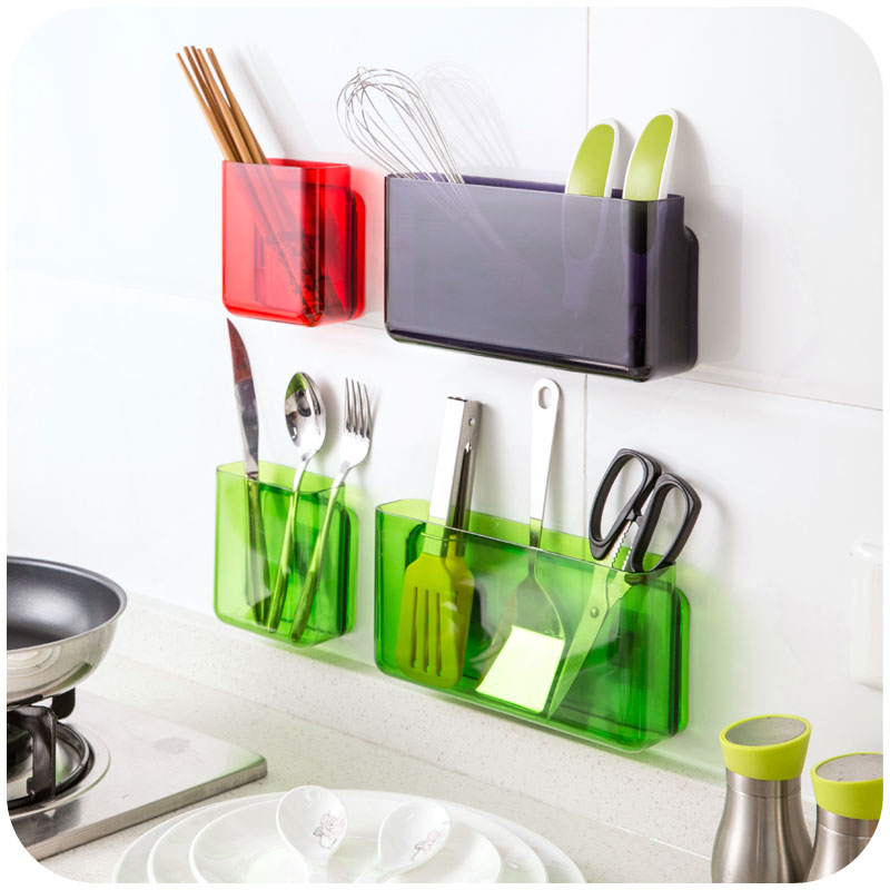 save off 54505 e7f1b US $6.8 10% OFF|DIY Self adhesive wall shelf organizer storage box kitchen  bathroom finishing storage Holders rack accessories-in Storage Boxes & Bins  ...