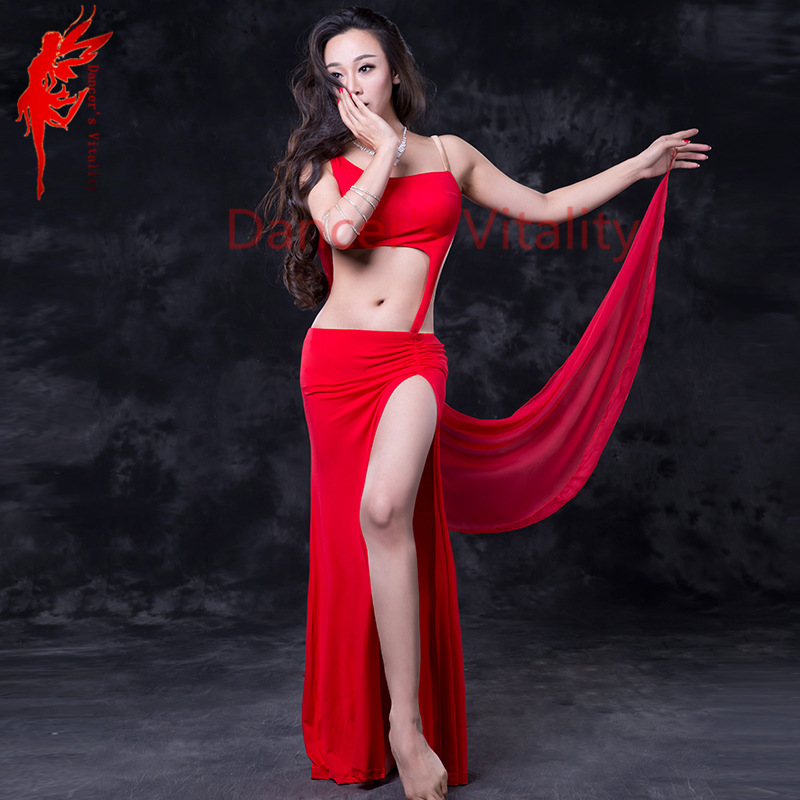 Modal Performance belly dance set sleeveless top and split skirt and veils 3pcs belly dance suit women Comfortable costumes