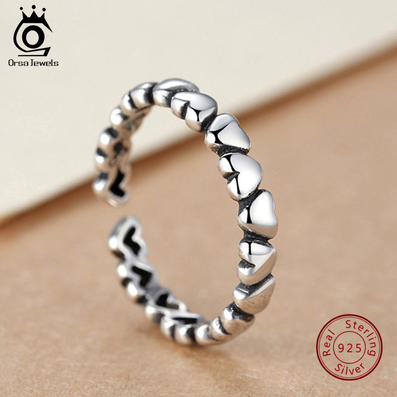 ORSA JEWELS Authentic 925 Sterling Silver Ring Heart Shape Adjustable Size For Women Rings Wedding & Engagement Jewelry PSR56