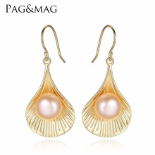 PAG&MAG Brand Scallop-shaped Earrings 925 Sterling Silver Vintage Drop Pearl Earrings for Party Jewelry Wholesale Gift Box Free