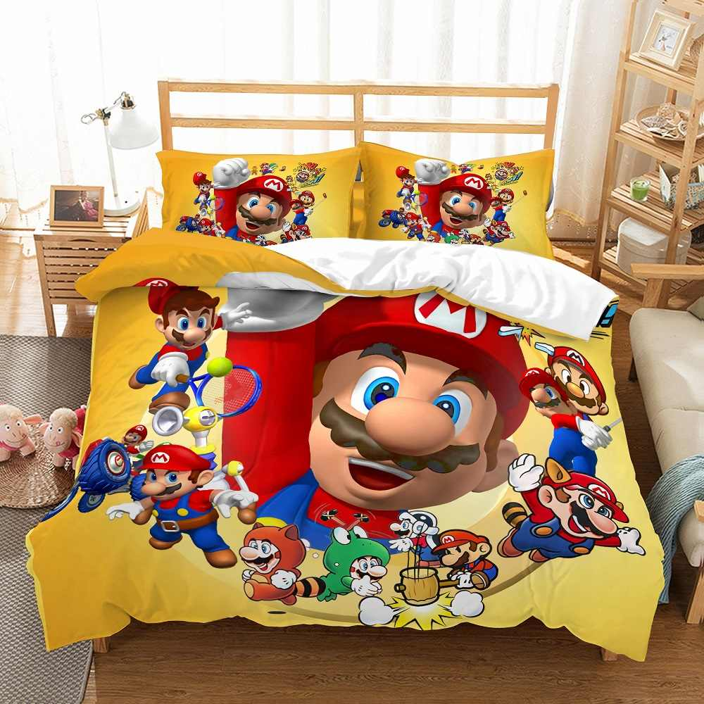 Super Mario Kids Bedding Set 3D Printed Game Design Duvet Cover Set Microfiber Bed Linen Set 3PCS AU/EU/US Bedclothes Pillowcase