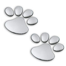 Cute Car Stickers 1 Pair Pet Animal Paw Footprints Emblem Car Truck Decor 3D Sticker Decal funny car sticker pegatinas automovil(China)