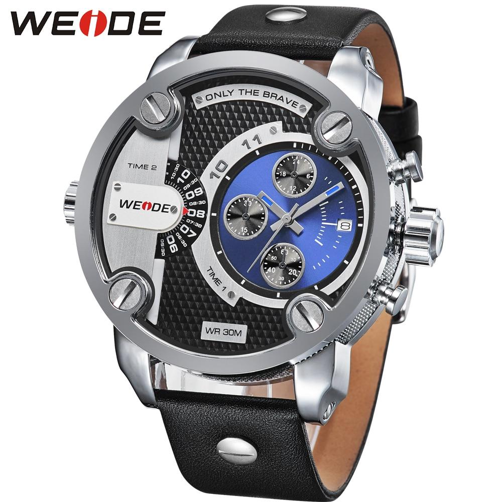 Бренд WEIDE, многофункциональные мужские спортивные часы с двойным часовым поясом, аналоговый Дисплей 30 м, водонепроницаемый кожаный ремешок,... - 2