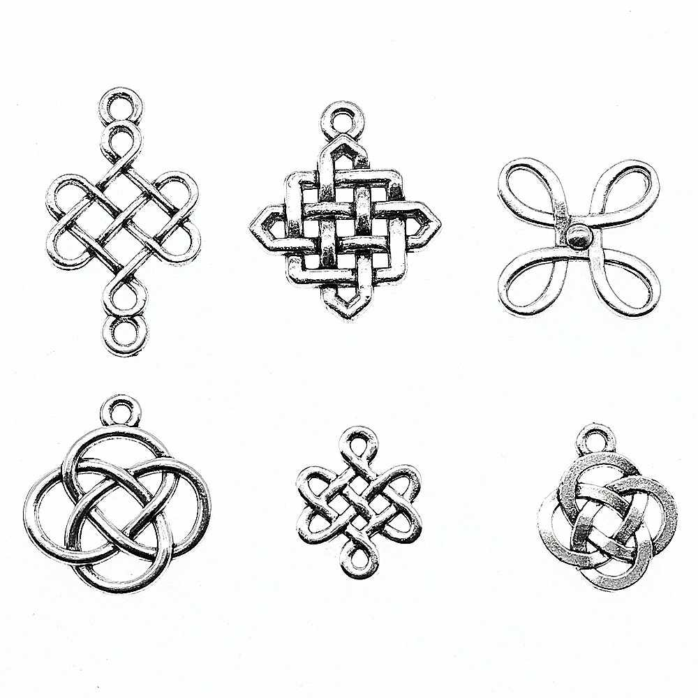 15 ชิ้น/ล็อตจีน Knot จี้ Charms เงินโบราณสีจีน Knot Lucky Charms เครื่องประดับ DIY Knot Charms