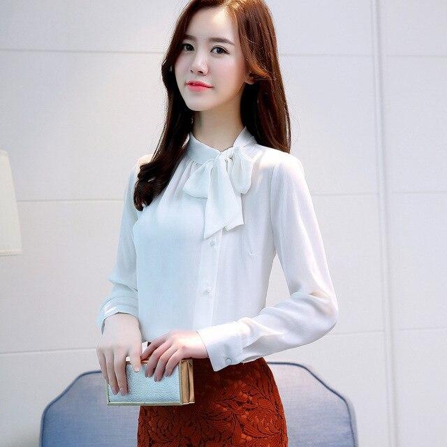 Women Chiffon Long Sleeve Blouses Feminine Bow OL Shirt New Elegant Chiffon Tops 2