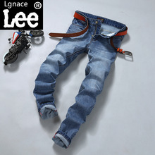 Lgnace lee summer thin jeans straight men's slim young male Mens trousers blue gray Large size