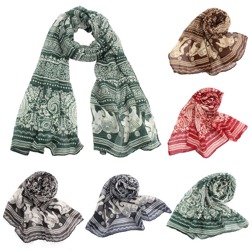 Vanessa Ma's Store 2017 New Fashion Elephant Print Shawl Voile Scarf 5 Colors For Women Auturm Winter Bufandas Mujer High Quality Size 180*90CM