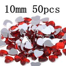 10 мм50 шт, Рукоделие, сделай сам, сердце, драгоценные камни, блестящие плоские грани, нормальные цвета, акриловые стразы, стразы, наклейки для ногтей