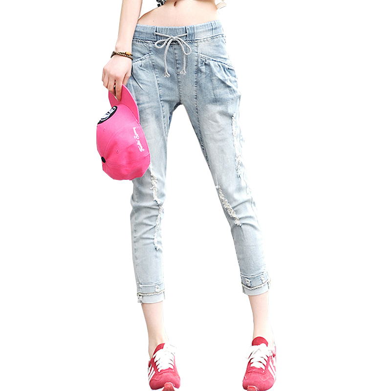 Summer Pants Woman Jeans 2017 New Fashion Casual Loose Jeans Female Elastic Waist Retro Broken hole