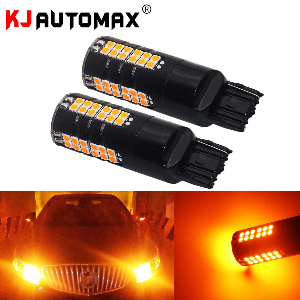 2pcs Yellow T20 7440 7443 LED Bulbs 60-SMD 3030 LED For Turn Signal Backup Reverse Brake Lights Lamp DRL 2pcs high quality superb error free 5050 smd 360 degrees led backup reverse light bulbs t20 for hyundai i30