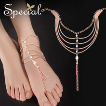 Special Brand Fashion Crystal Anklets Rose Gold Romantic Foot Accessories Vintage Tassel Foot Jewelry Gifts for Women S1704A