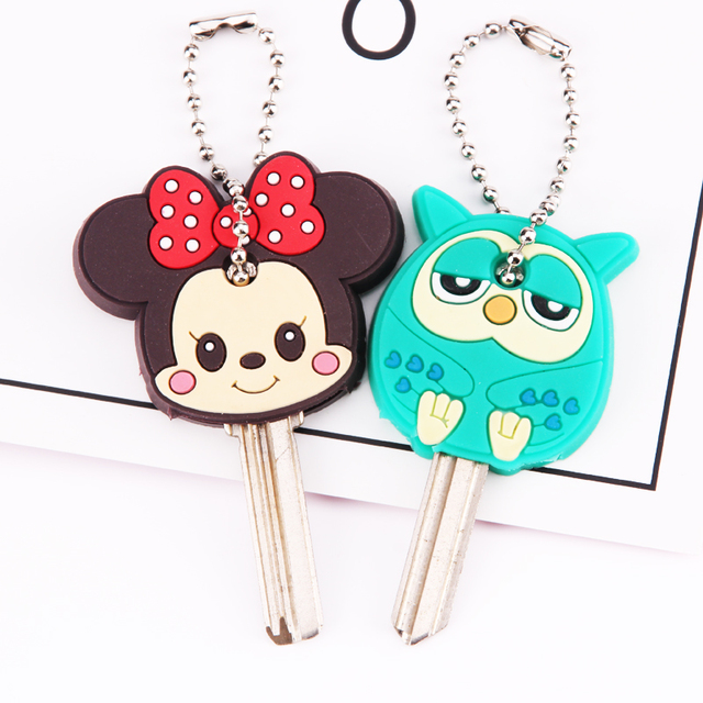 fa0292e9cb91 Anime Silicone Cat Key Cap Minion Key Chain Women Bag Charm Key Holder  Stitch Key Ring Owl Keychain Mickey Hello Kitty Key Cover