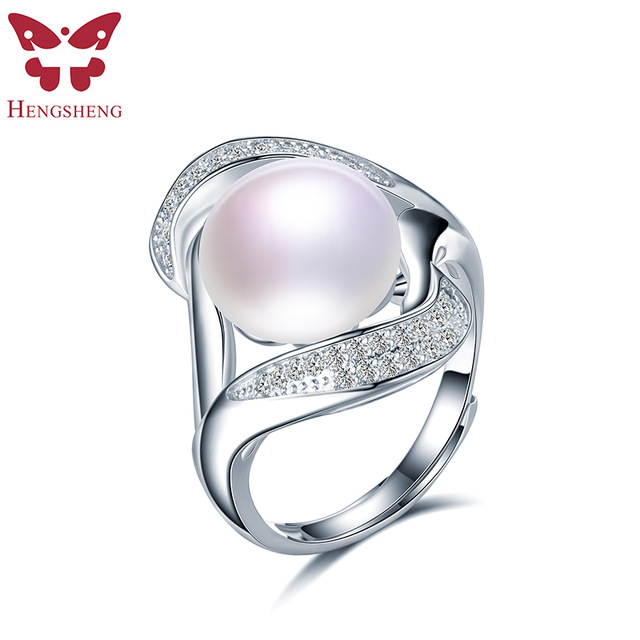 HENGSHENG Natural Pearl Zircon Women Rings,Real Freshwater Pearl,White/Black Pearl,Fashion Romantic 925 Silver Jewelry Ring 2019