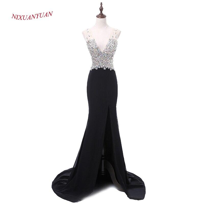 NIXUANYUAN 2017 New Custom Made Crystal Evening Dress 2017 Deep V Neck Mermaid Formal Gown Sexy Side Split Vestidos De Noite