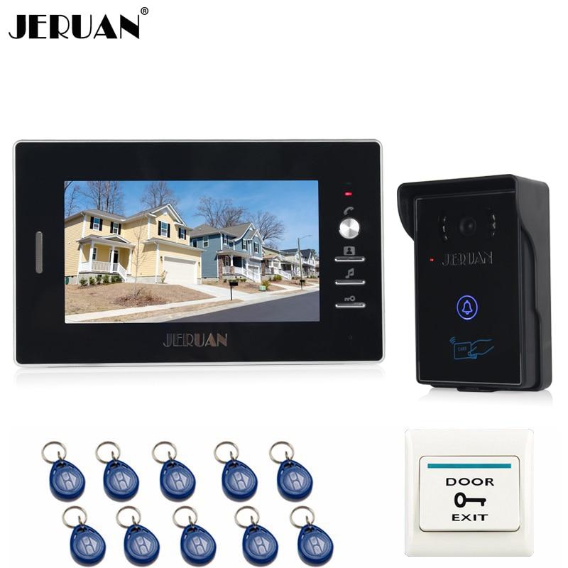 JERUAN Banrd NEW 7`` Color Video Intercom Entry Door Phone System 1 monitor + 700TVL RFID Access Waterproof Camera FREE SHIPPING