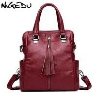 NIGEDU Fashion Tassel Women Handbags Female School Shoulder Bags Travel Back Pack Large Capacity Lady Handbag
