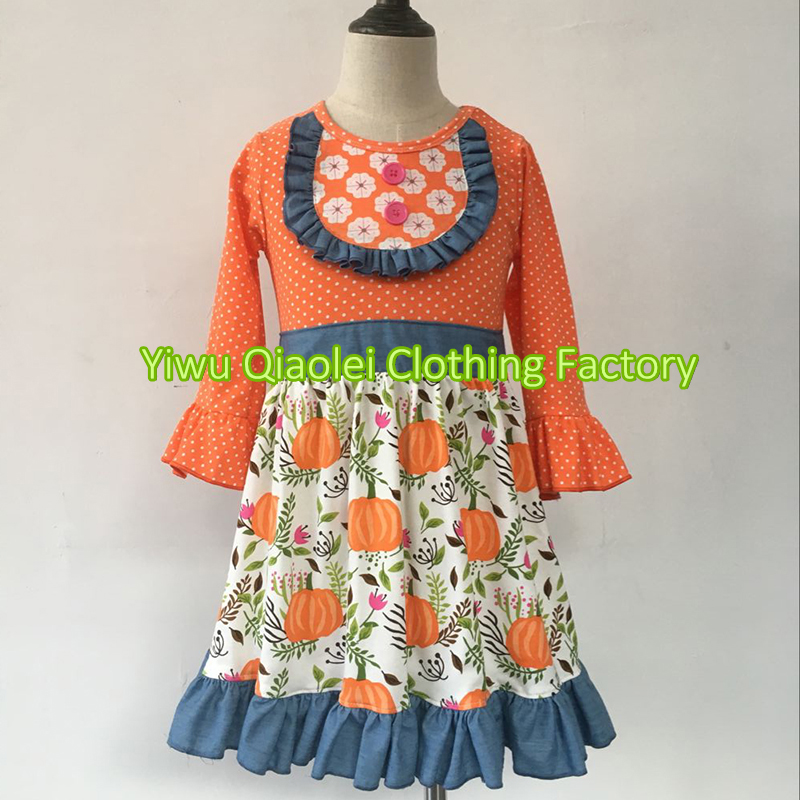 ON SALE ! High quality cotton fabric halloween pumpkin botuique for baby girl dress hot sale wholesale christmas angel girl dress girls high quality boutique baby girl cotton dress
