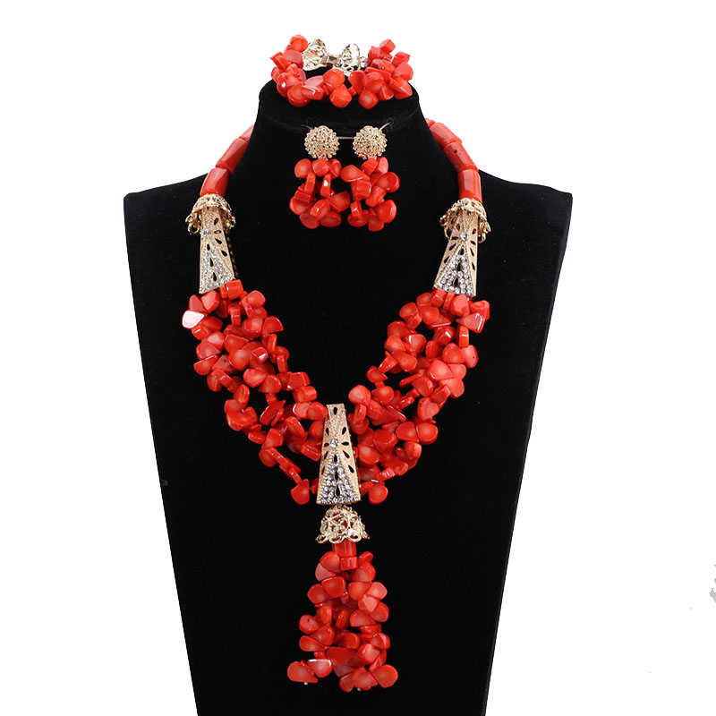 Latest Nigerian Wedding Coral Statement Necklace Set African Real Coral Bridal Jewelry Dubai Gold Beads Jewelry Set 2017 CNR135 2018 dubai gold statement necklace set charms 3 layers women coral african beads jewelry set real coral beads for brides abh762